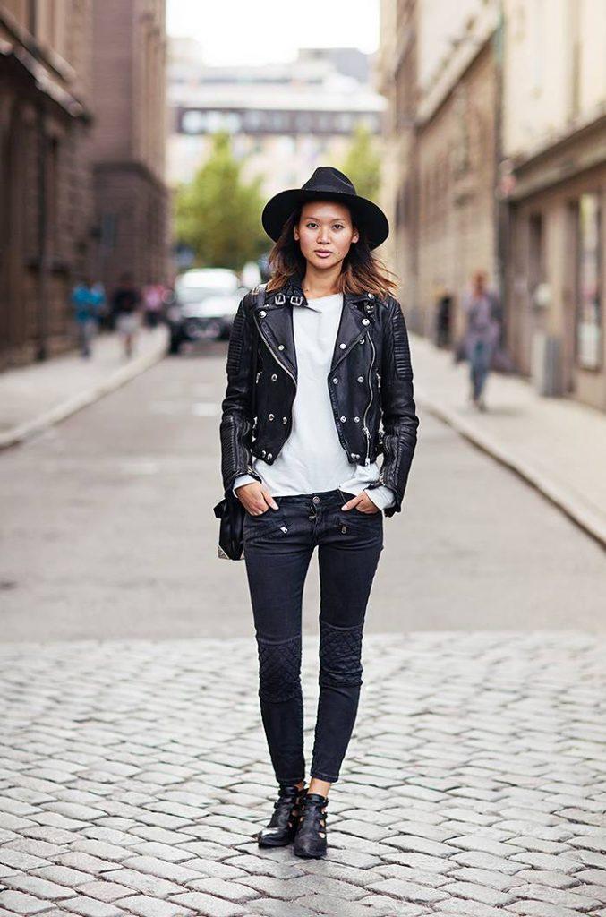cazadora de cuero stockholm street style